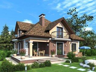 Proiect casa placata cu caramida pe portiune din fatada