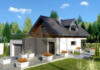 Casa mica cu mansarda si terasa deasupra garajului