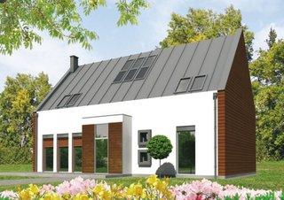 Casa moderna cu fatada cu tencuiala minerala si placaj de lemn