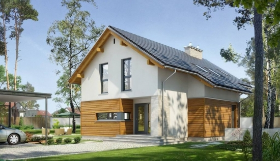 Model de casa compacta cu fatada placata la parter cu lemn