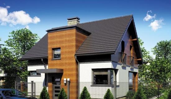 Model de casa cu bovindou placat cu textolit