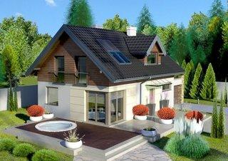 Model de casa mica cu mansarda placata la exterior cu lemn