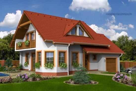 Casa pe structura de lemn cu garaj incorporat