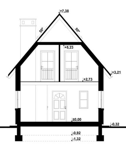 Casa mica si ingusta cu inaltime de 7 metri