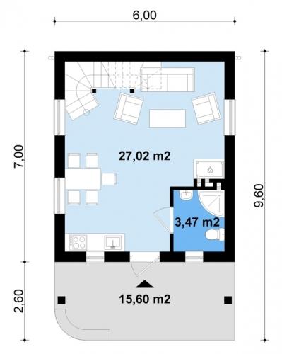 Parter de 27 metri patrati open space