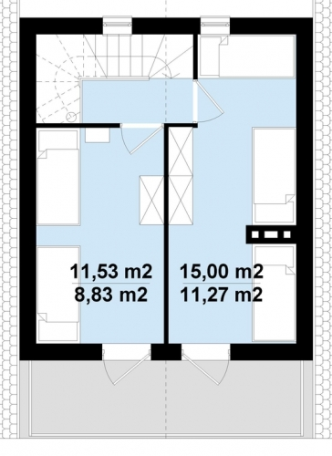 Plan etaj casa de vacanta ingusta cu 2 dormitoare mici