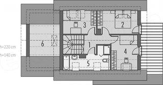 Plan etaj casa ingusta cu 3 dormitoare