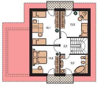 Casa cu dormitoare la etaj si baie comuna