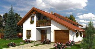 Casa cu mansarda si balcon acoperit