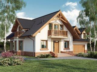 Casa cu mansarda si balcon din lemn