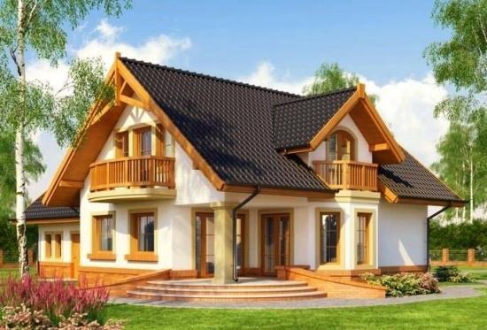 Casa frumoasa cu mansarda si elemente din lemn