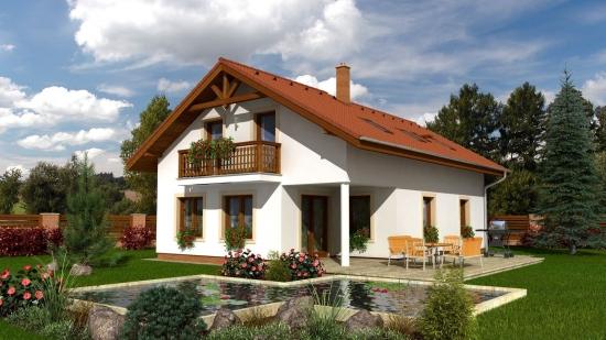 Proiect casa cu mansarda si terasa