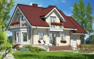 Casa cu acoperis rosu si fatada crem
