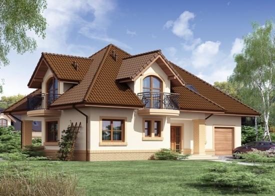 Model de casa cu balcoane la mansarda 2
