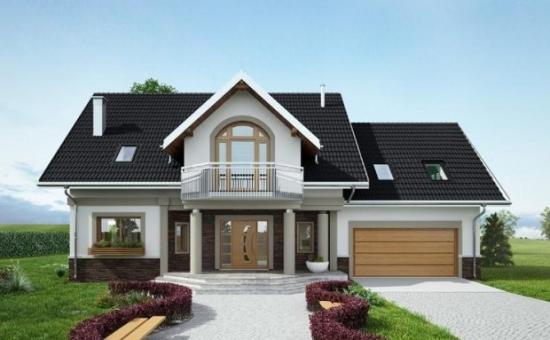 model casa cu balcon deasupra intrarii