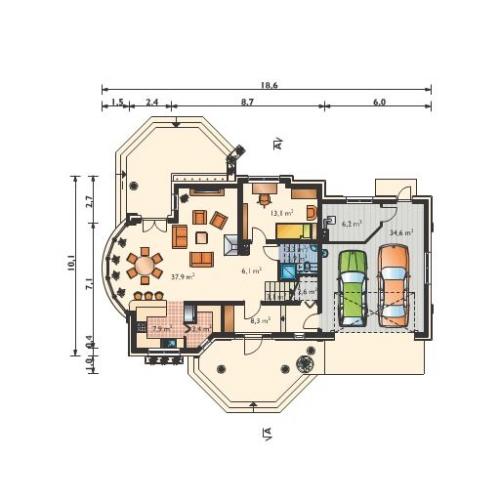Plan parter casa cu garaj dublu 3
