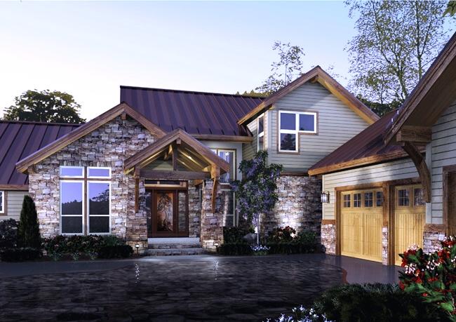 Casa moderna cu fatada placata cu piatra si lambriu