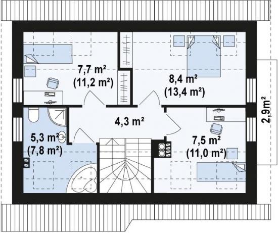 12.Schita etaj casa de 33 metri patrati