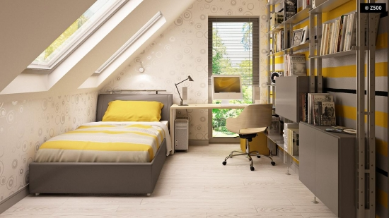 6.Dormitor 1 persoana cu birou la mansarda