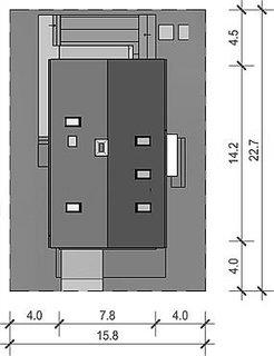 Casa cu amprenta de 7.8 pe 14.2
