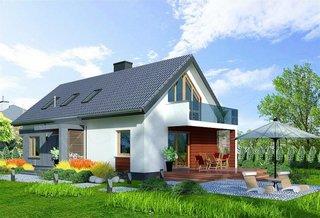 Casa cu mansarda cu amprenta 110 mp