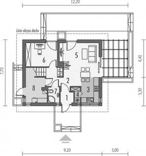 Schita parter casa cu latime 7.70 metri