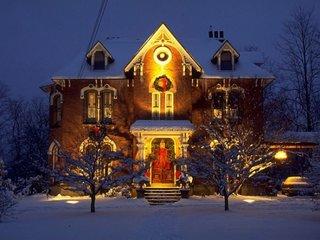 Intrare luminata pentru sarbatori iarna