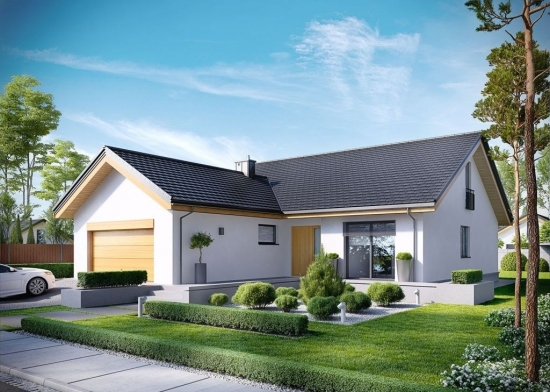 Casa cu garaj in forma de L fara etaj