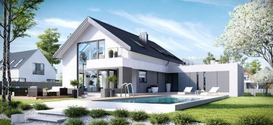 Casa in forma de L cu mansarda