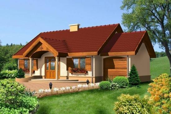 Casa parter cu garaj si obloane lemn
