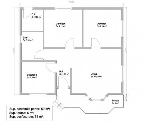 Plan casa mica doar parter 65 mp