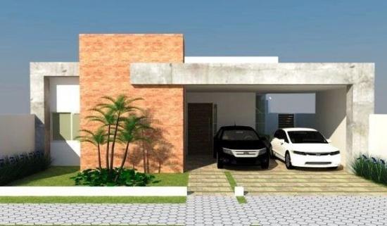 Casa mica cu acoperis plat si garaj