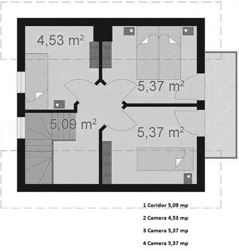 1 Casa cu mansarda de 56 mp si 3 dormitoare