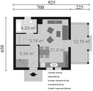 1 Parter casa cu mansarada cu suprafata 60 mp