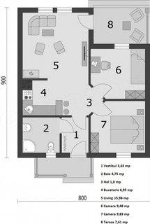 2 Impartire camere in casa de 50 mp