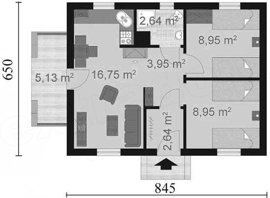 3 Schita camere casa de 44 mp