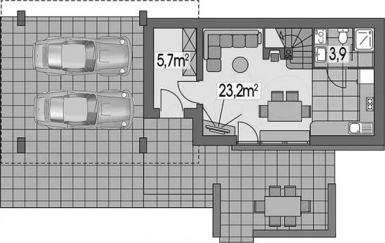 4 Casa 50 mp cu garaj si terasa