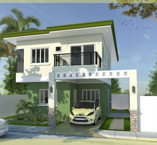 Casa cu garaj in aer liber pe teren ingust