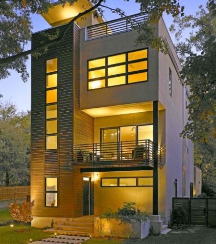 Casa moderna cu terasa pe acoperis
