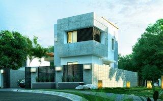 Casa modulara cu etaj si fatada cu piatra