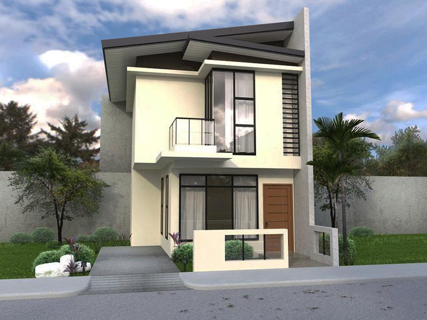 Model de casa cu etaj si acoperis plat pentru teren ingust