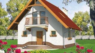 Casa cu mansarda si balcon deasupra intrarii