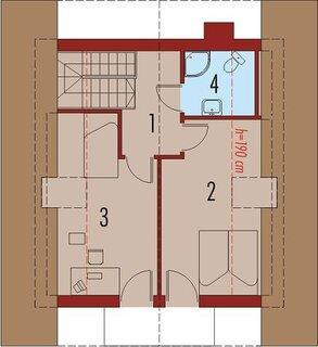 Plan etaj cu 2 dormitoare suprafata totala 29 mp