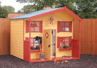 Casuta din lemn pentru copii galbena cu rosu