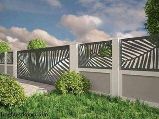 Model de gard modern combinatie de beton cu fier