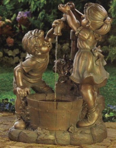 Cismea de curte din fonta statueta fata si baiat