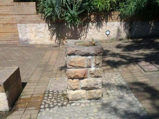 Cismea de gradina zidita placata cu piatra