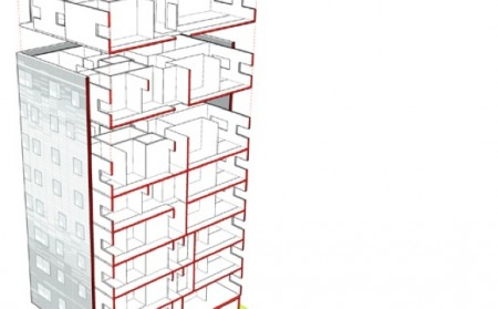 Schema 3 D cladire proiectata din lemn