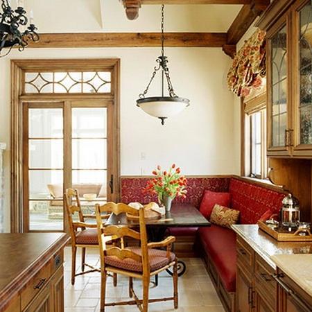 Coltar de bucatarie cu tapiterie rosie