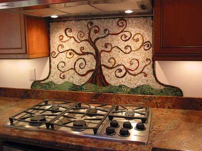 Placi de mozaic ceramic cu desen copac